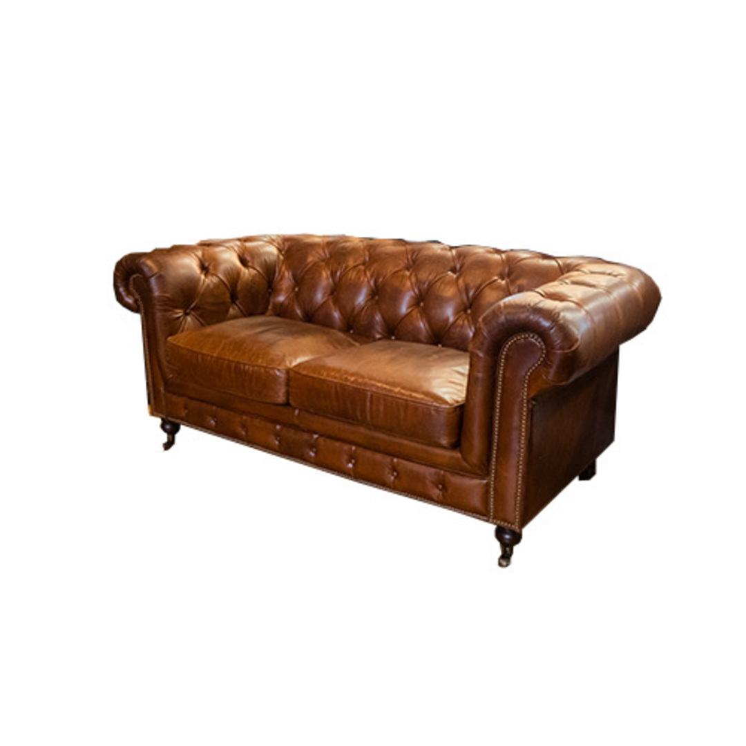Chesterfield Aged Italian Leather 2 Seater Brown image 1
