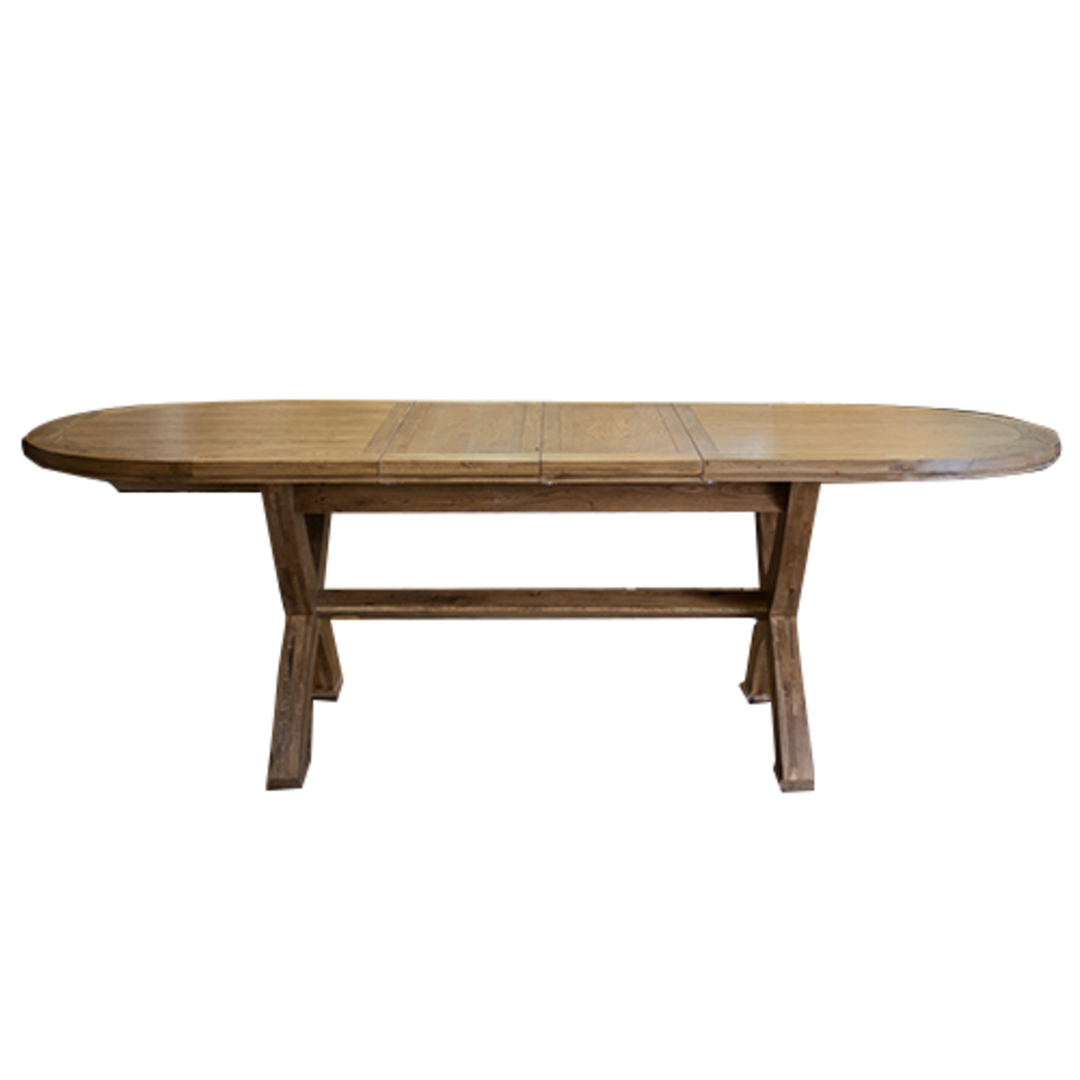 Oak Oval Extension Dining Table with Crossed legs image 1