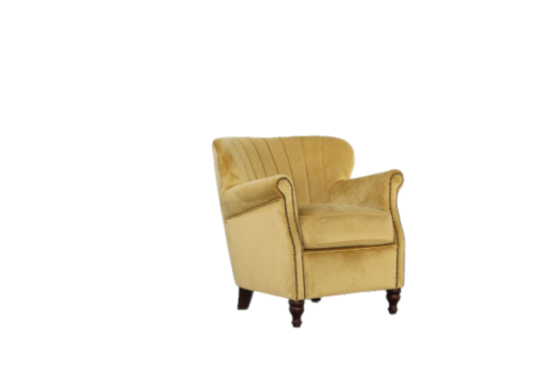 Percy Chair Plush Velvet Yellow image 1
