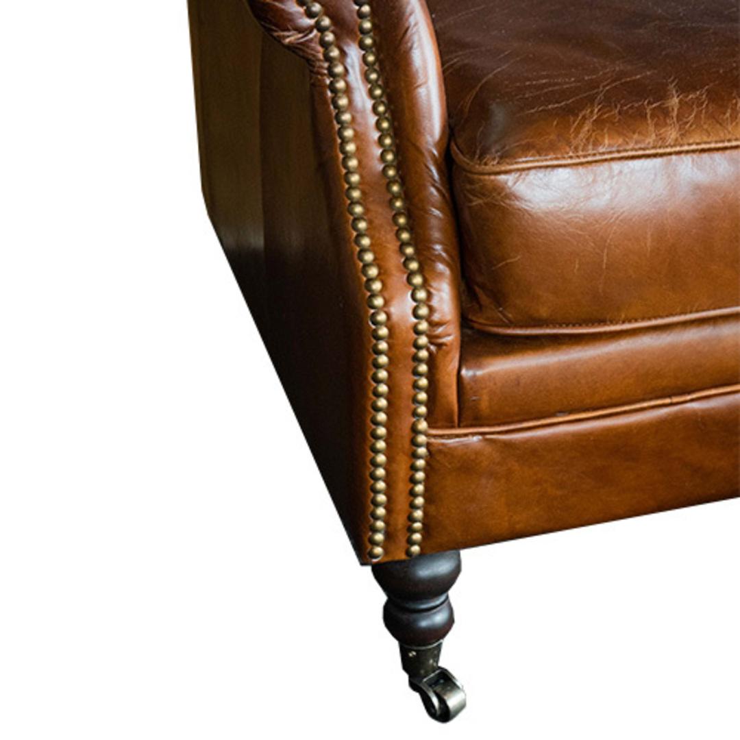 Sandringham Aged Italian Leather 3 Seater image 4