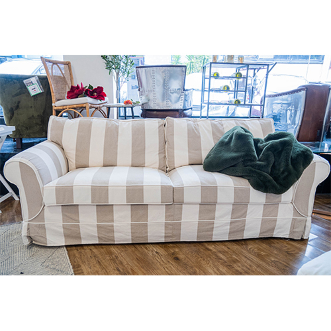 Isla Feather Filled 3 Seater Sofa Striped Natural image 4