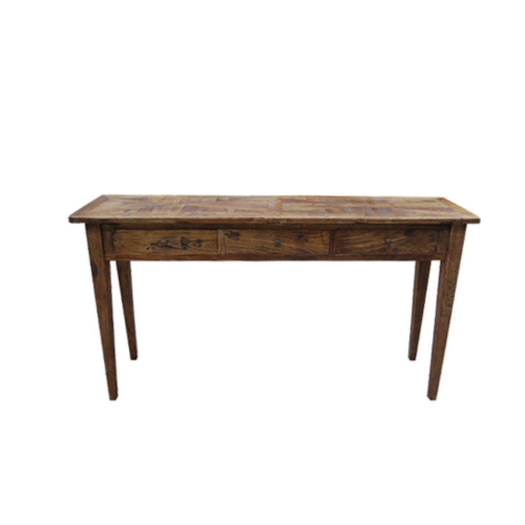 Recycled Elm Parqueterie 3 Drawer Console Table image 0