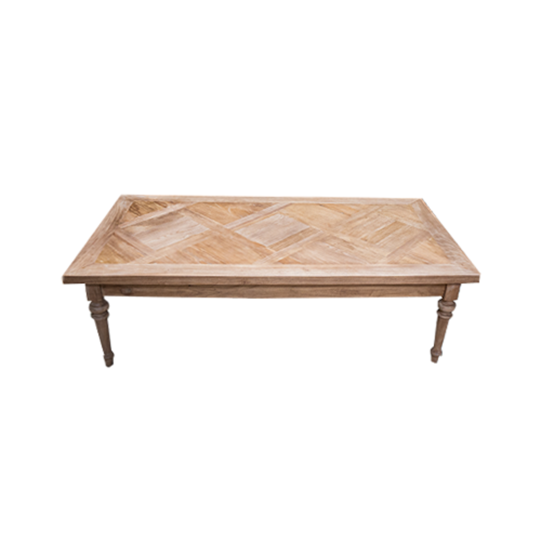 Recycled Elm Coffee Table with Parquet Top image 2