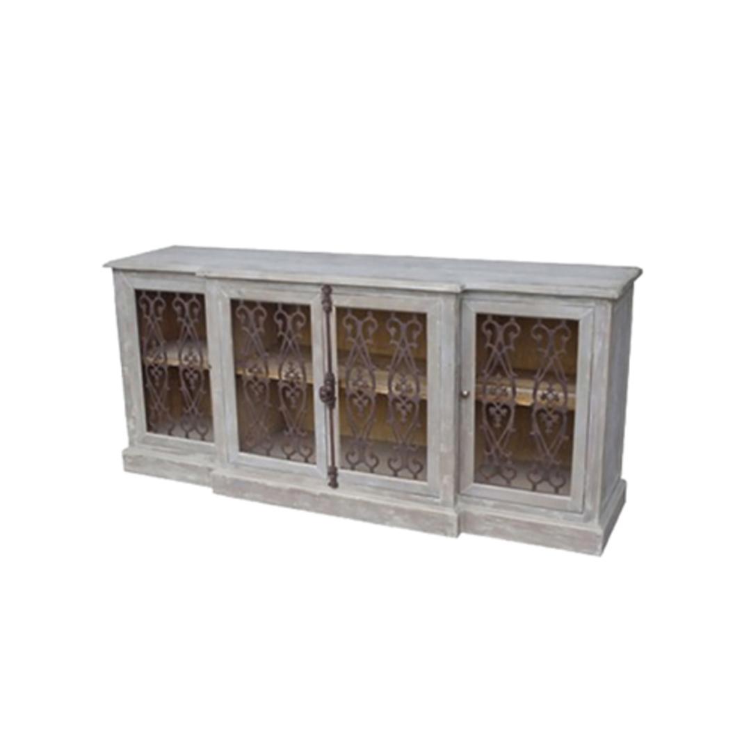 4 Door Buffet with Metal Filigree Old Pine image 0