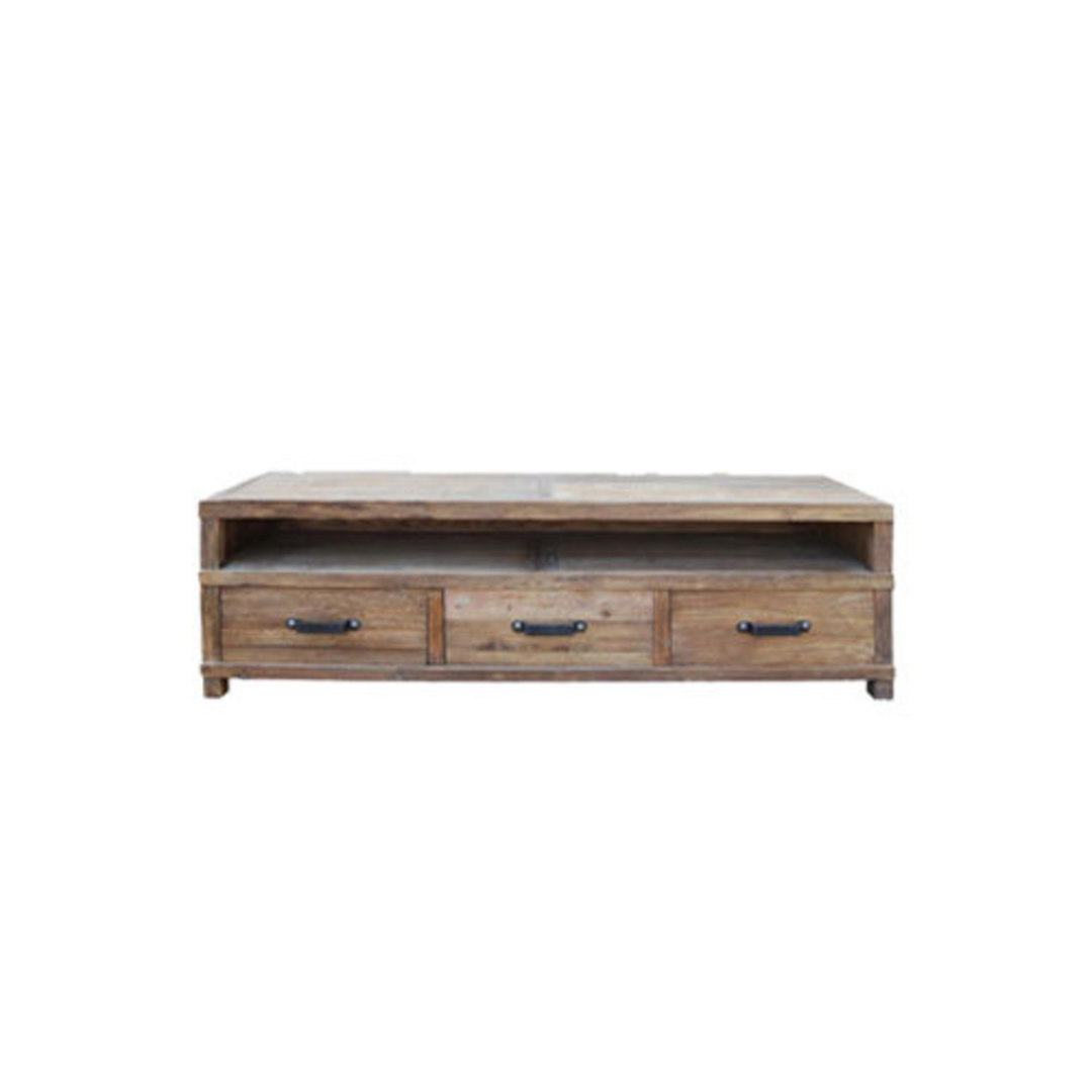 Recycled Elm French 3 Drawer TV Unit image 0