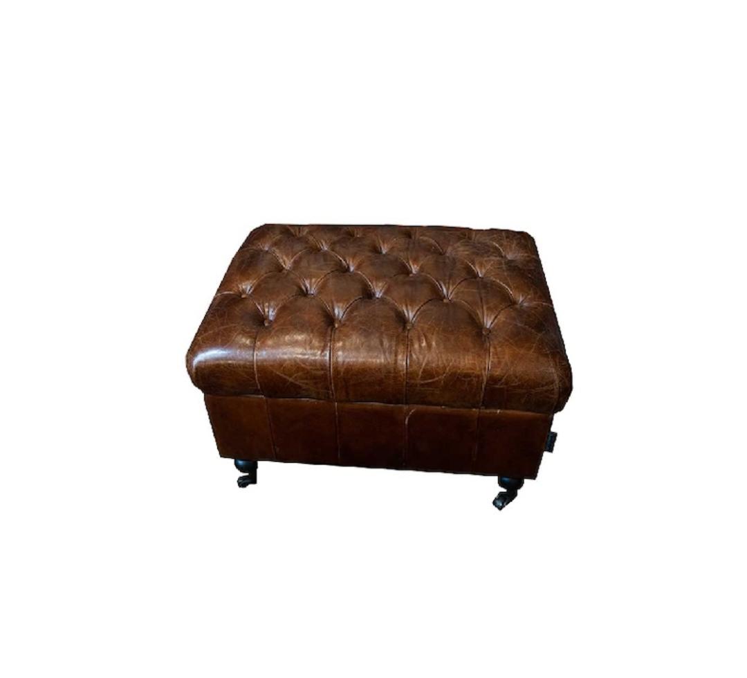 Aged Italian Leather Button Top Seat Storage Ottoman image 0