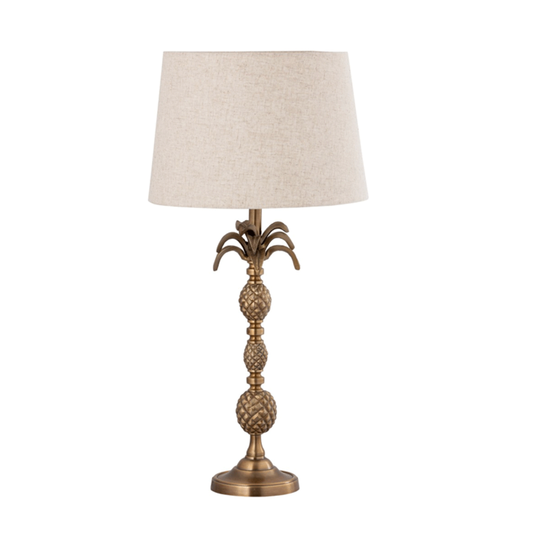 Antique Brass Table Lamp with Linen Shade image 0