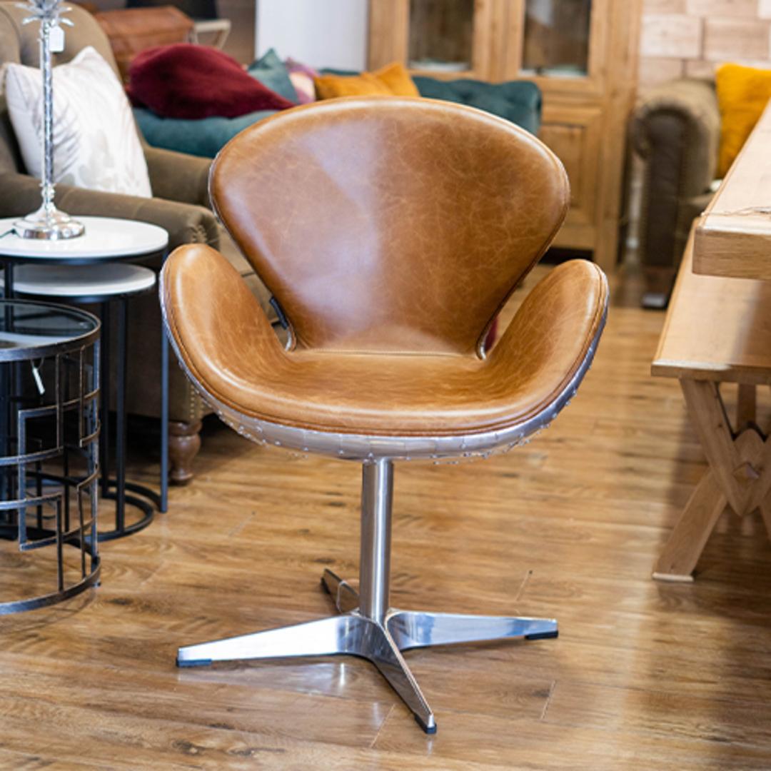 Aviator Swivel Chair Vintage Tan image 6