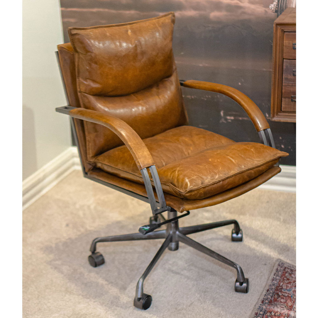Hereford Vintage Leather Office Chair Height Adjustable image 4