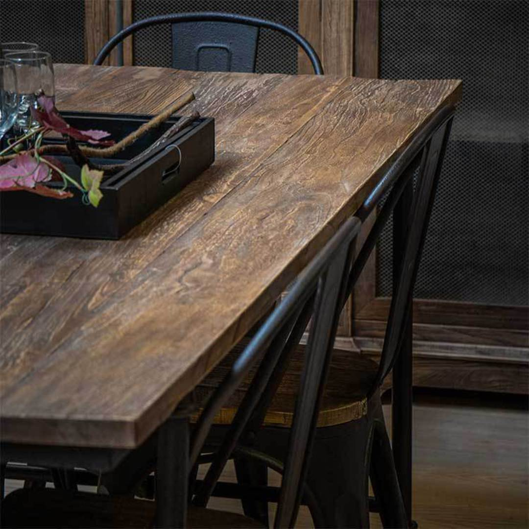 Industrial Dining Table Old Elm & Iron 1.8 Metres image 3