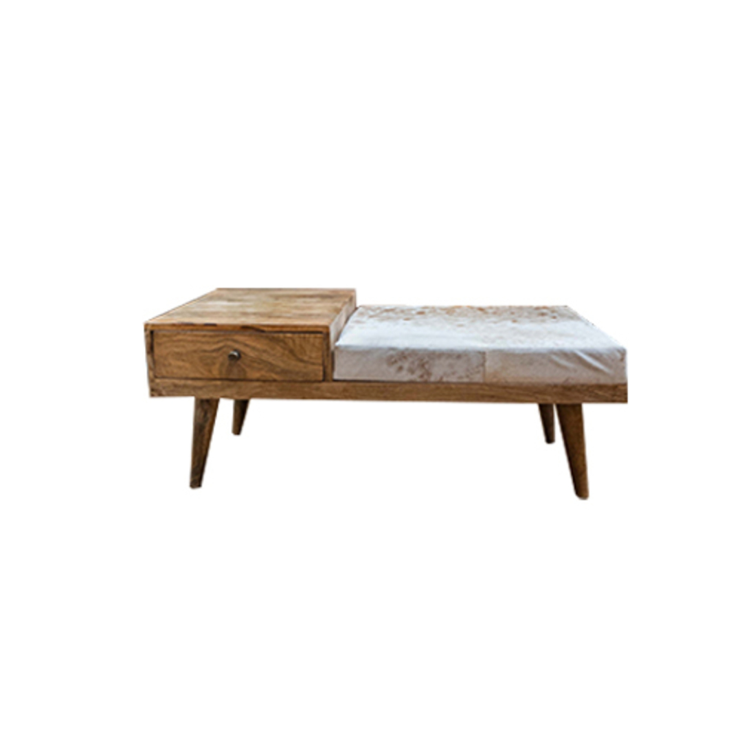 Mid Century Phone Bench With Cowhide image 0