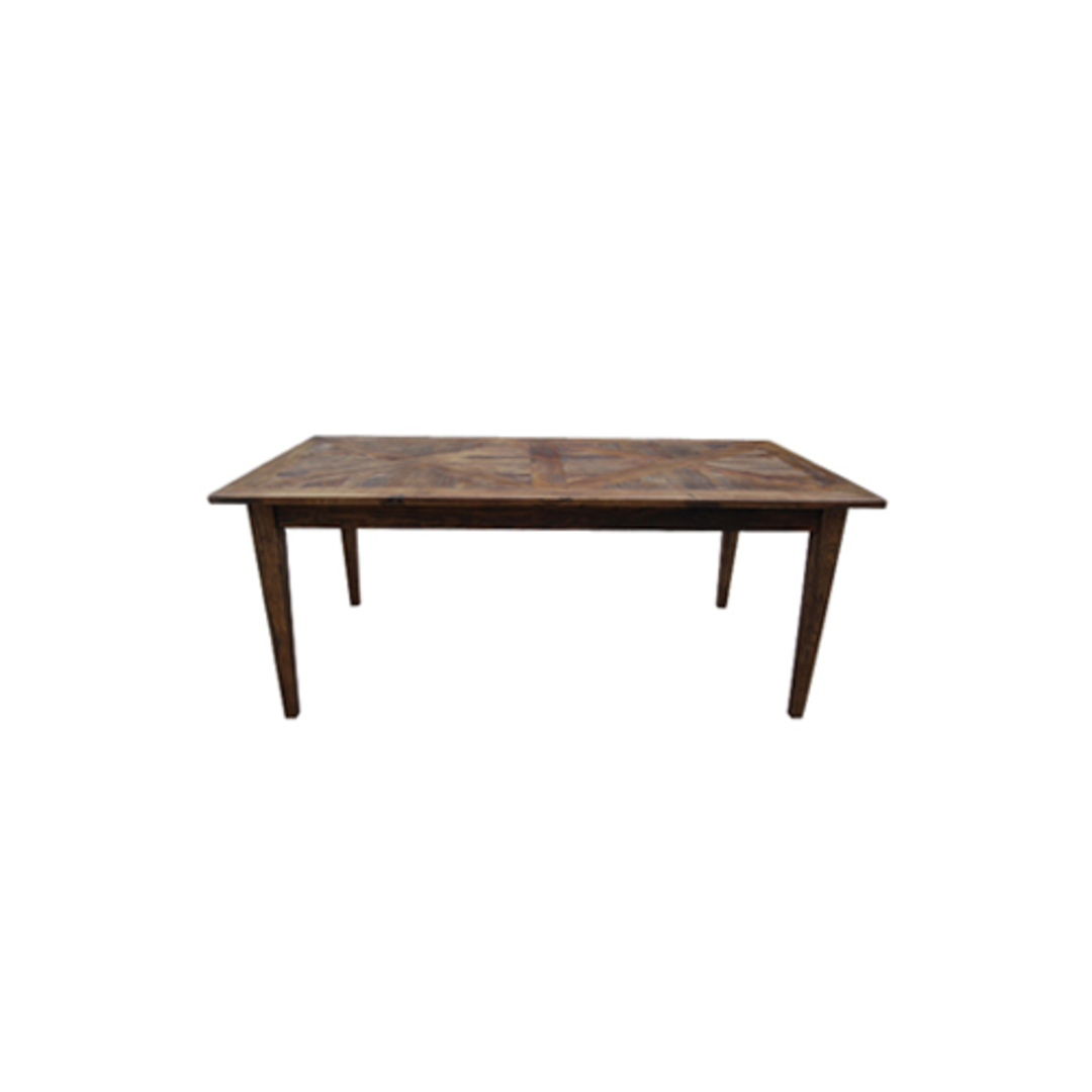 French Dining Table Recycled Elm Parquet Top 1.5 Metres image 0