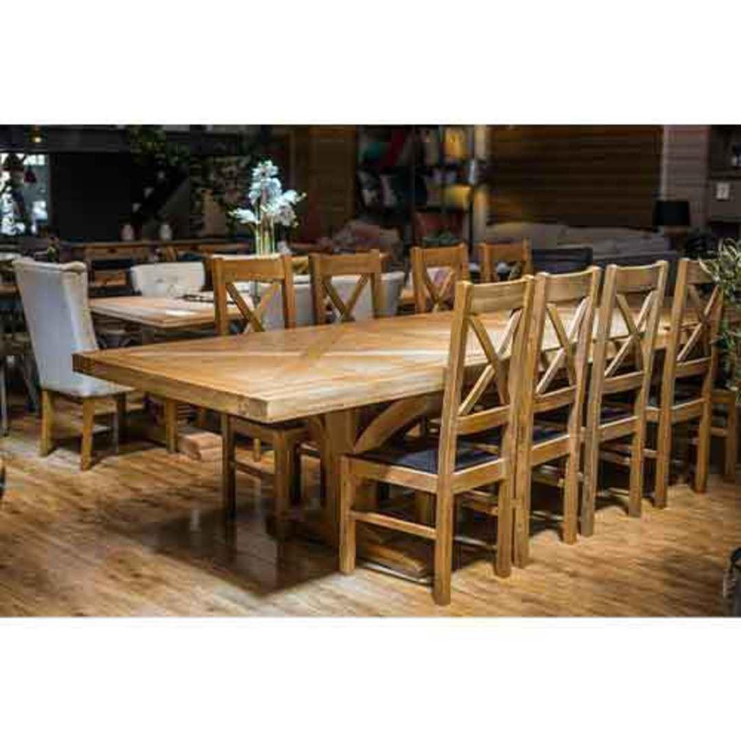Oak Double Extension Table Parquet Top image 8
