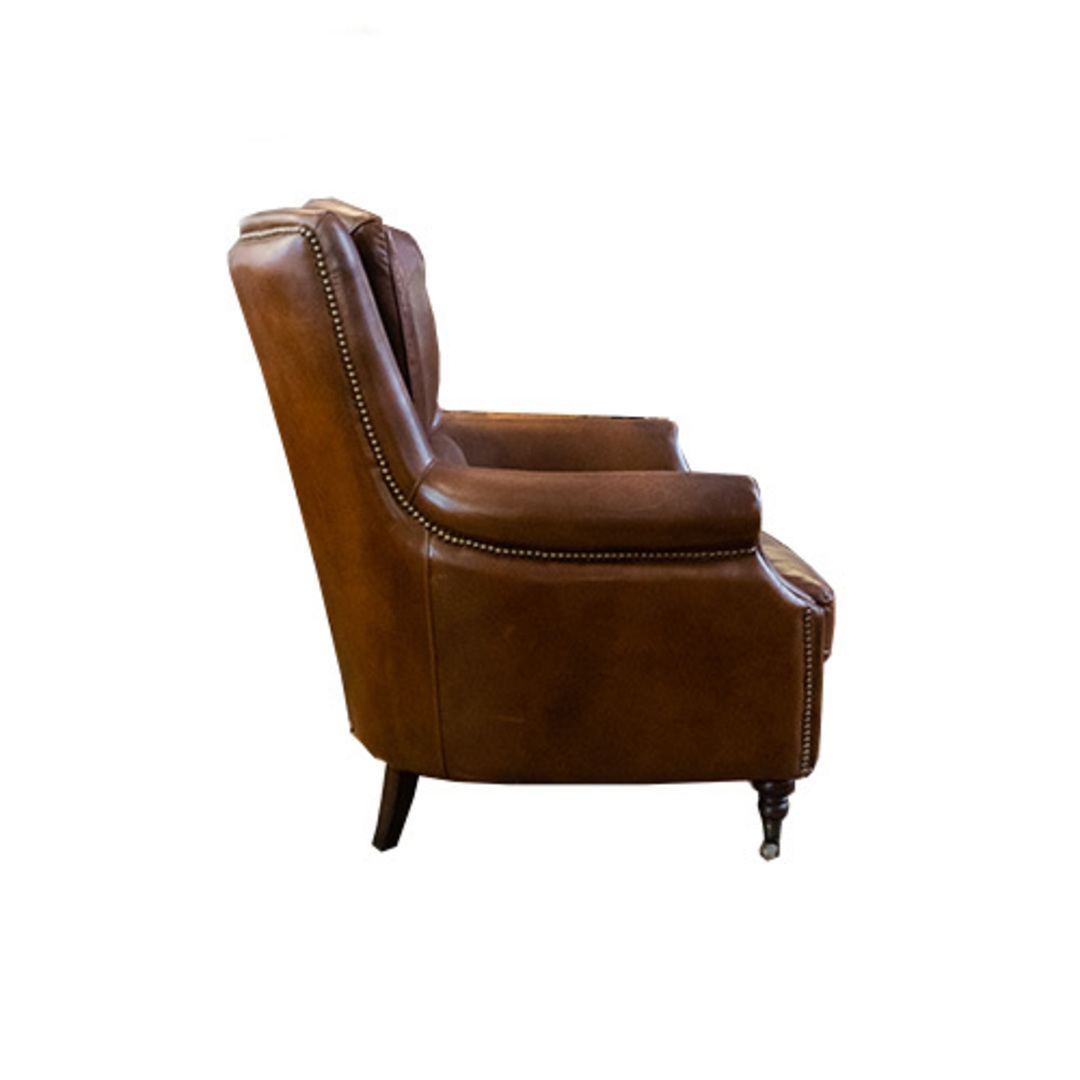 Windsor Aged Italian Leather Chair Brown image 2