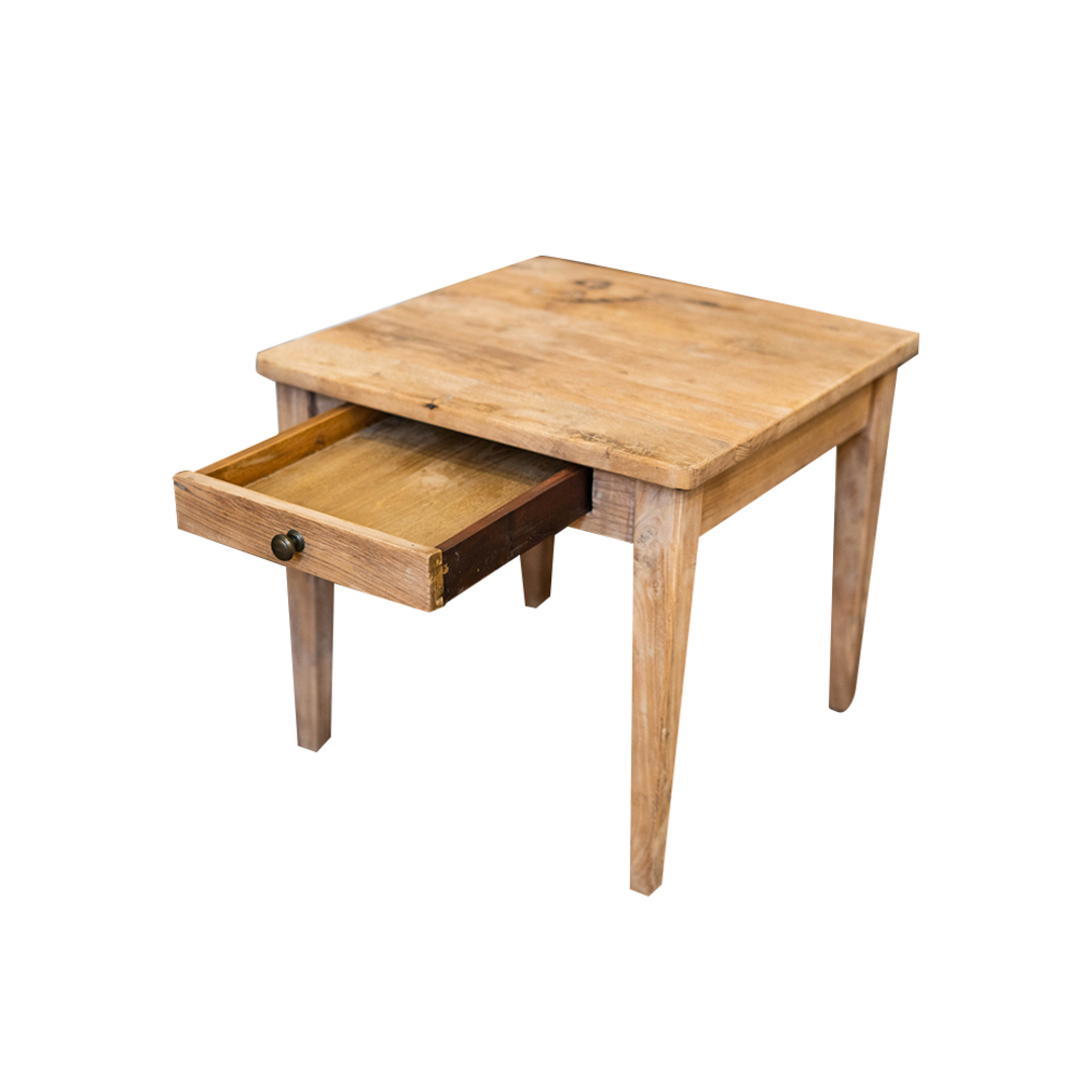 Recycled Elm French 1 Drawer Lamp Table image 1
