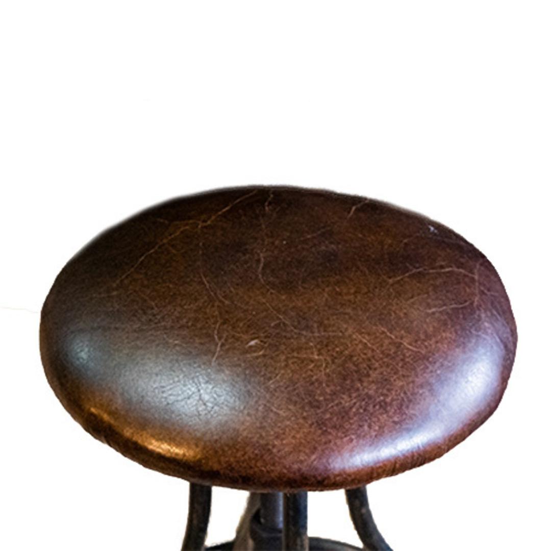 Vintage Industrial Leather Bar Stool Height Adjustable image 1
