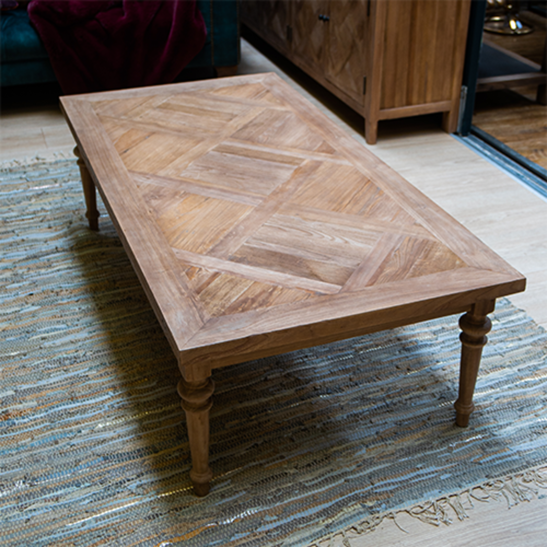 Recycled Elm Coffee Table with Parquet Top image 4