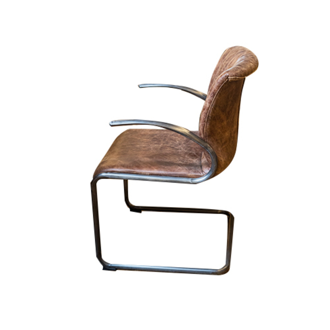 Matera Leather Arm Chair Metal Frame image 1