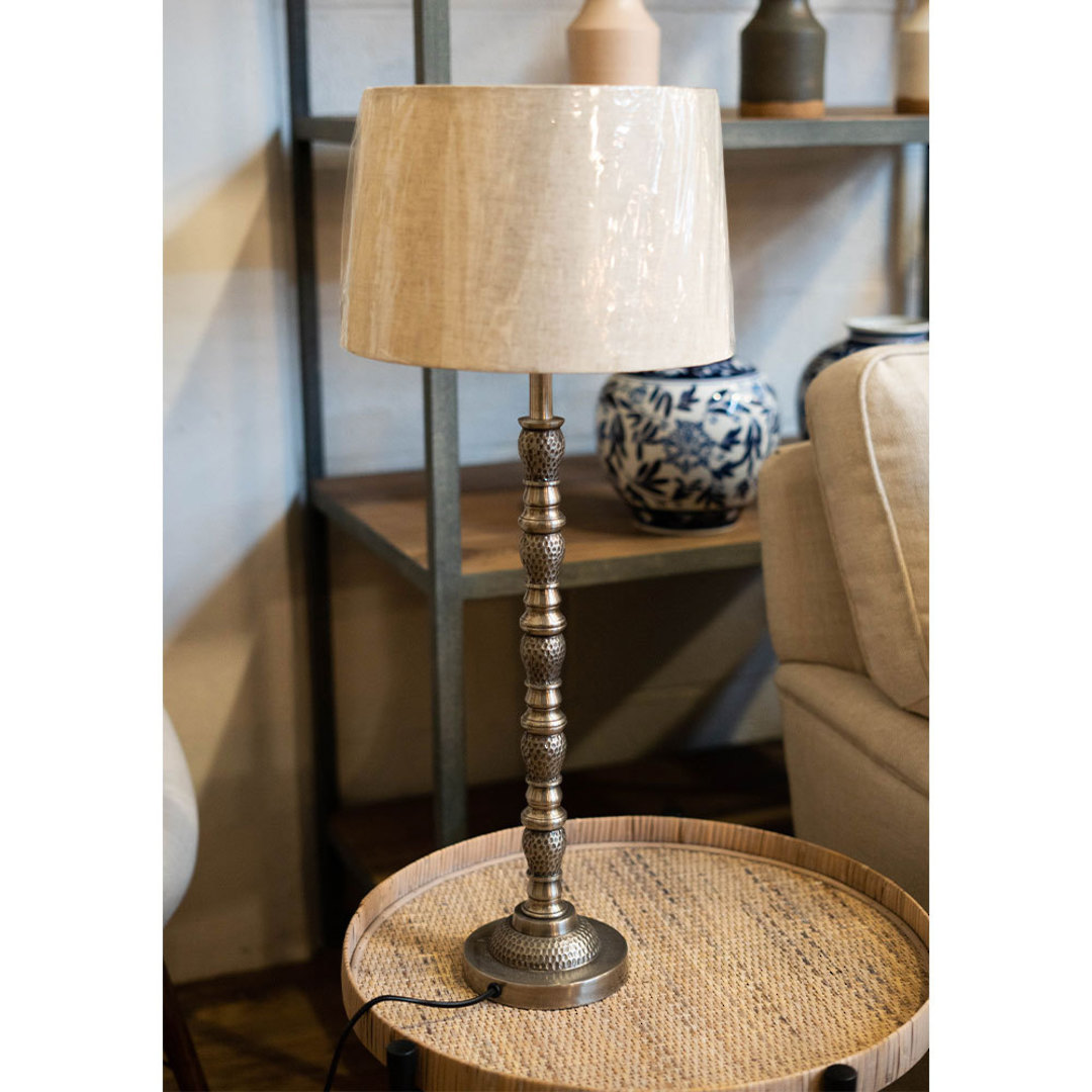 Silver Antique Table Lamp with Linen Shade image 1