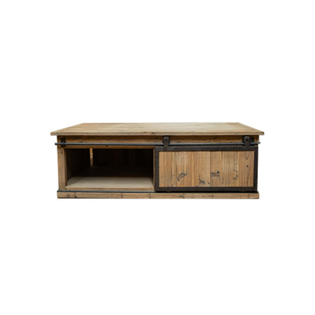 Industrial Coffee Table With Sliding Door image 8