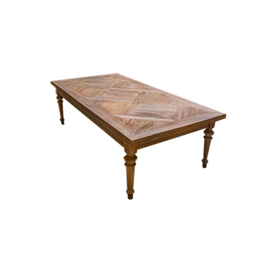 Recycled Elm Coffee Table with Parquet Top image 0
