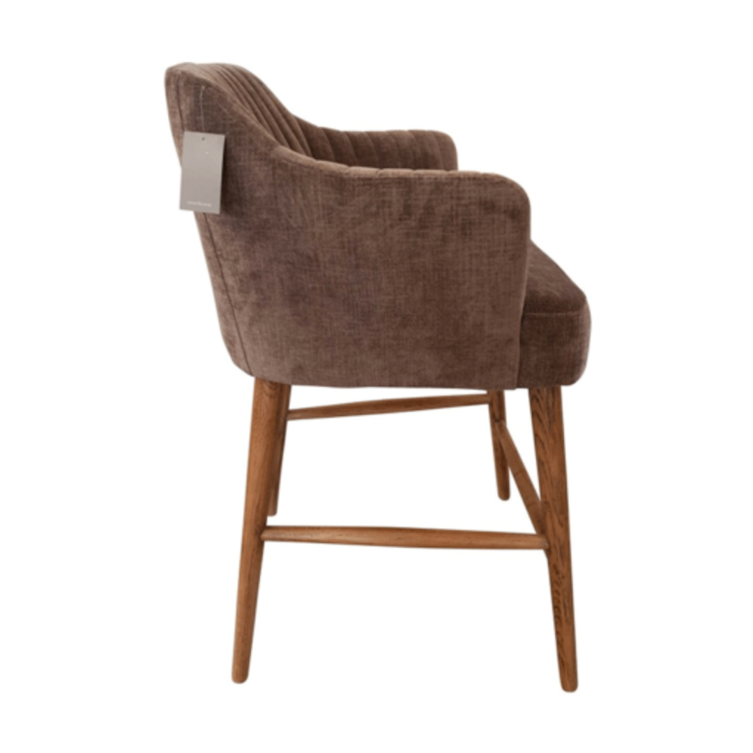 Meadow Barstool Grey Chenille with Oak legs image 1