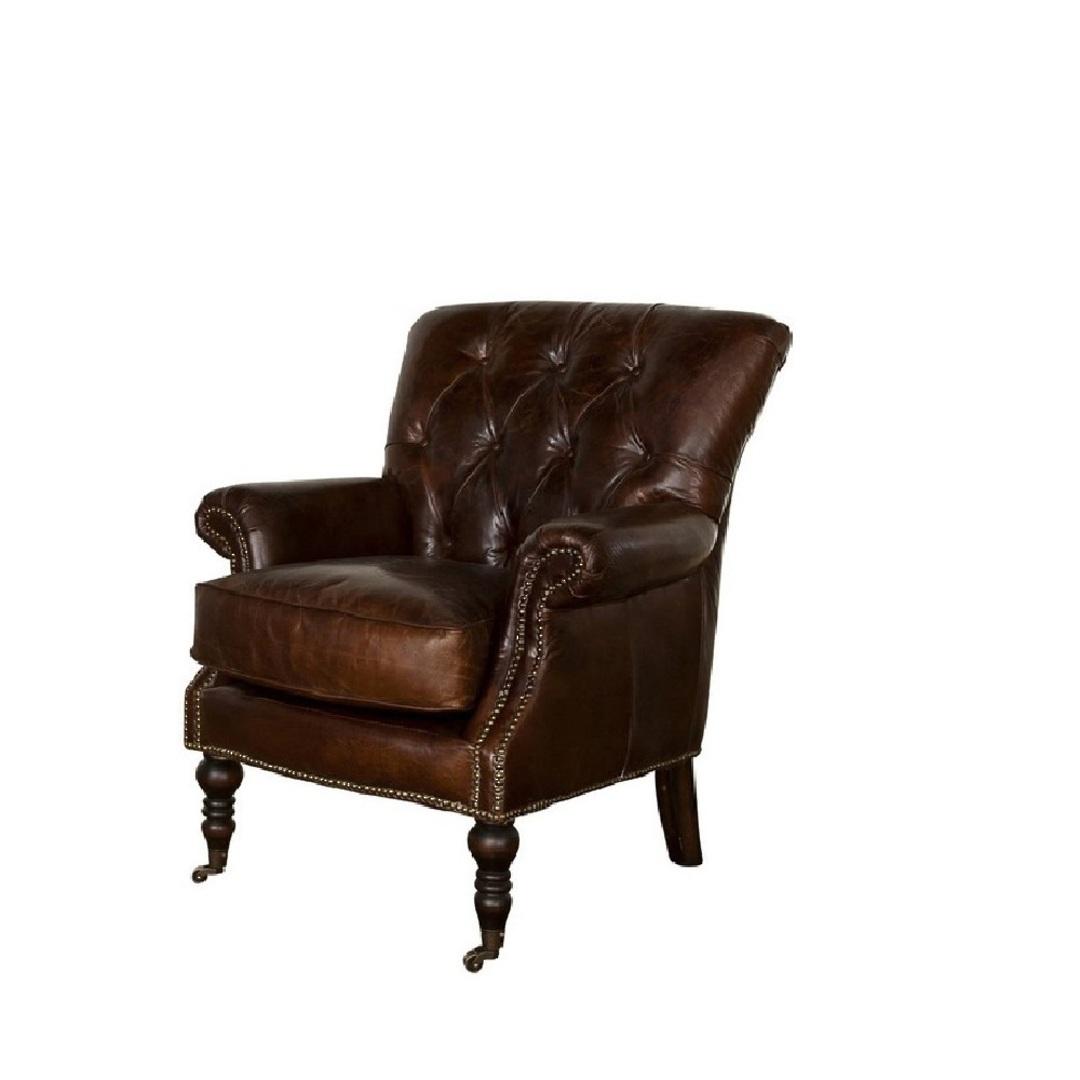 NottinghamAged Italian Leather Chair image 0