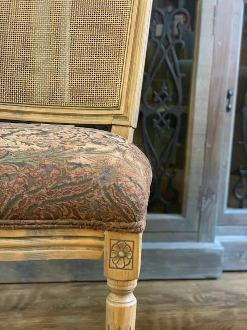 Marcel Dining Chair - Antique Oak With Jacquard Fabric & Rattan Back image 5