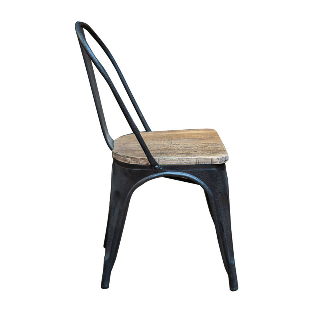 Industrial Dining Chair With Elm Seat image 1