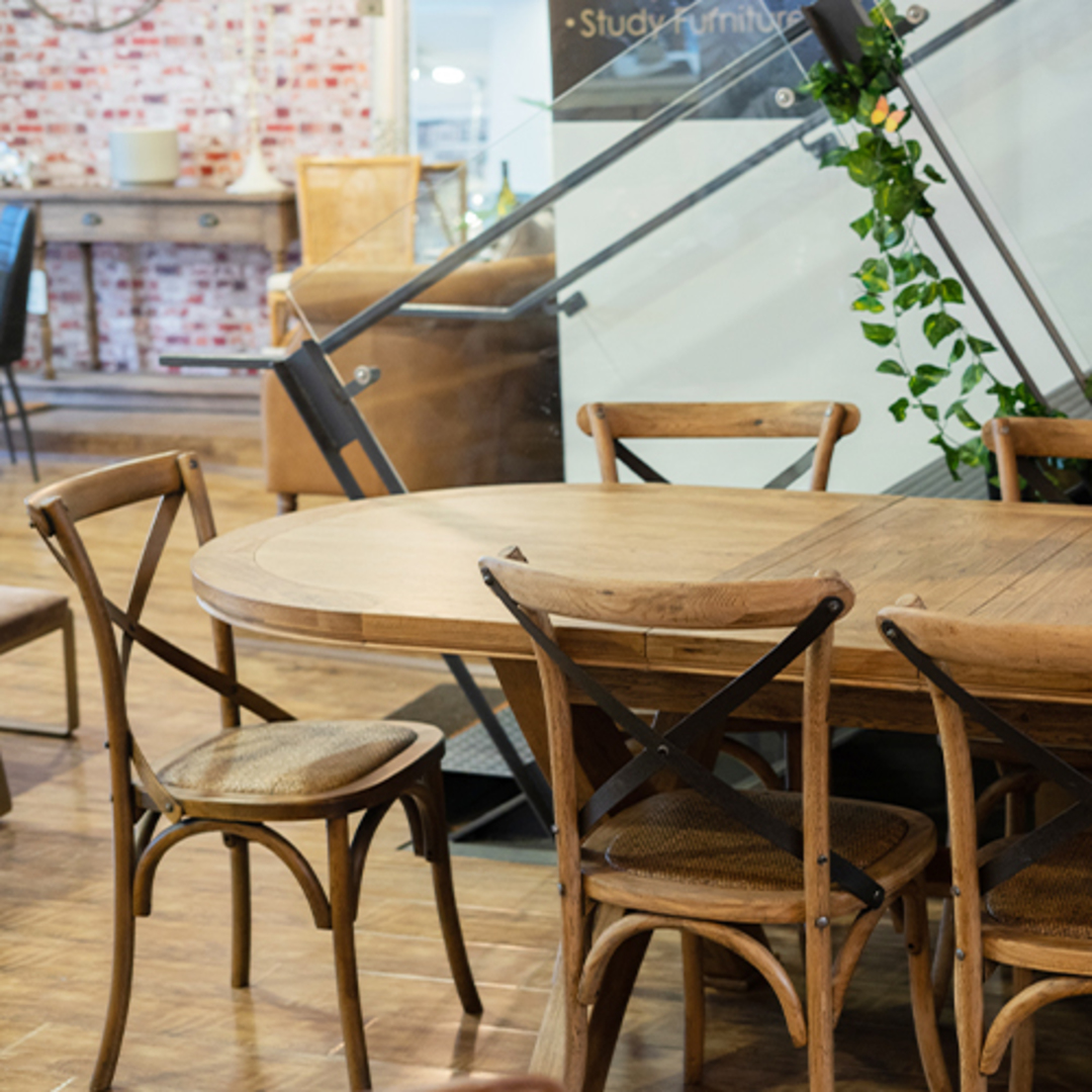 Oak Oval Extension Dining Table with Crossed legs image 7