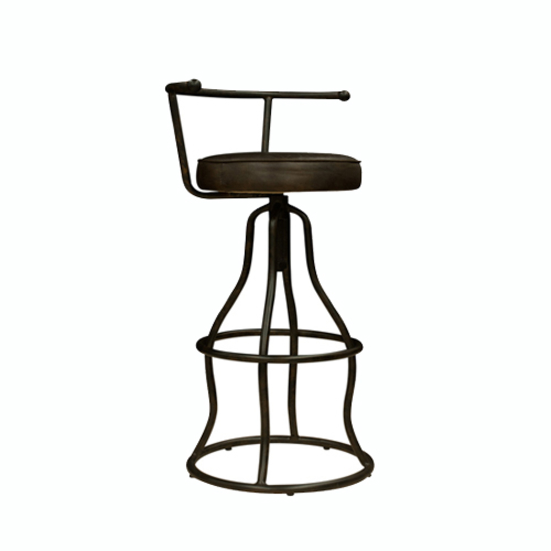 Vintage Industrial Leather Bar Stool with Back image 0