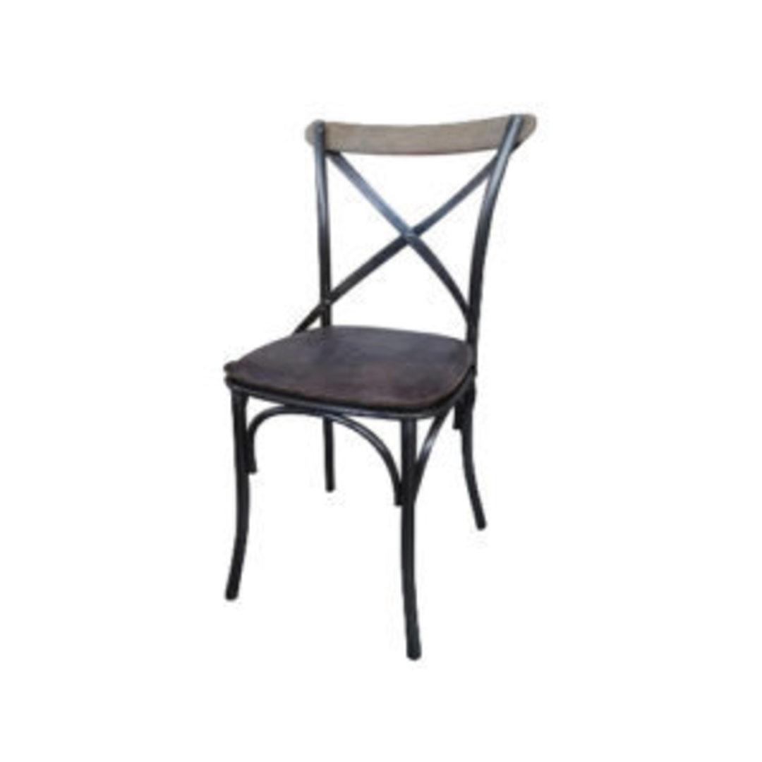 Dining Chair Cross Frame Leather with Iron & Oak Frame Brown image 0