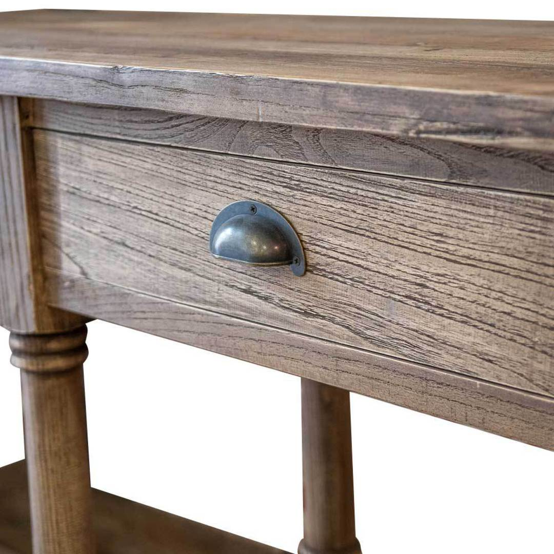 Reclaimed Elm Victoria 4 Drawer Console With Shelf image 2