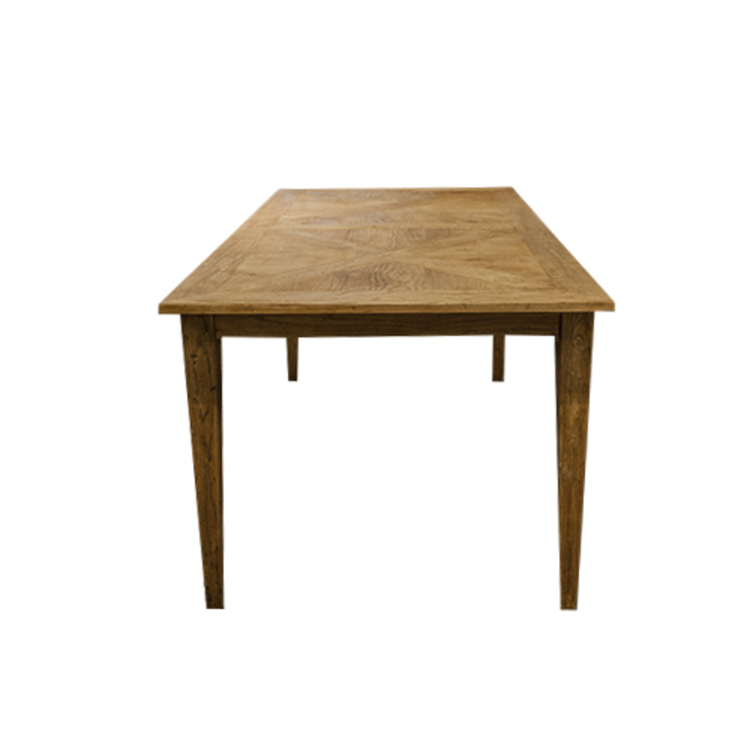 French Dining Table Recycled Elm Parquet Top 1.8M image 3