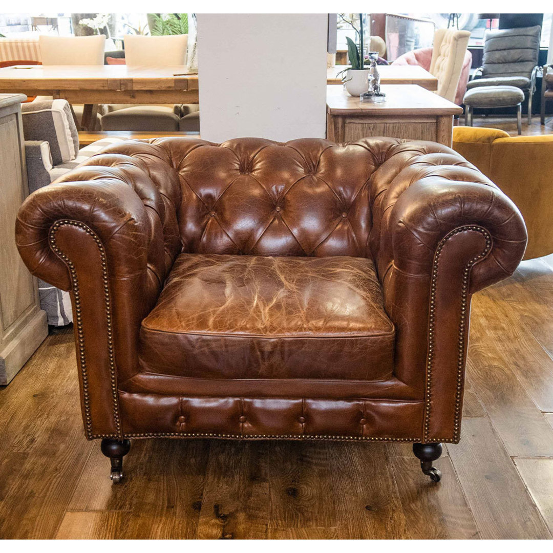 Chesterfield Aged Italian Leather 1 Seater Brown image 3