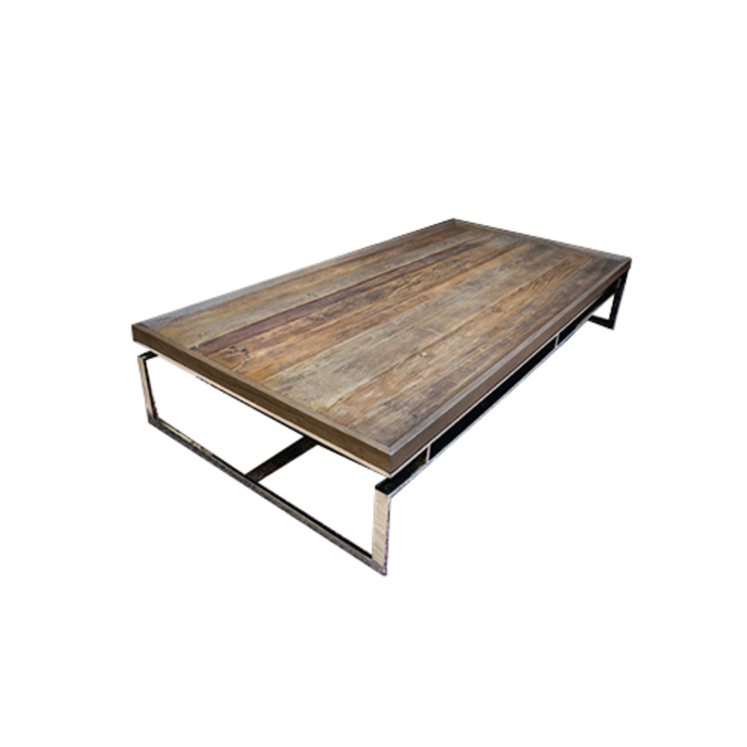 Providence Coffee Table Reclaimed Elm & Stainless Steel image 3