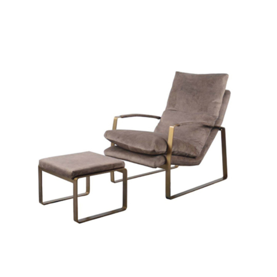 Sienna Chair & Ottoman Fabric Espresso image 0