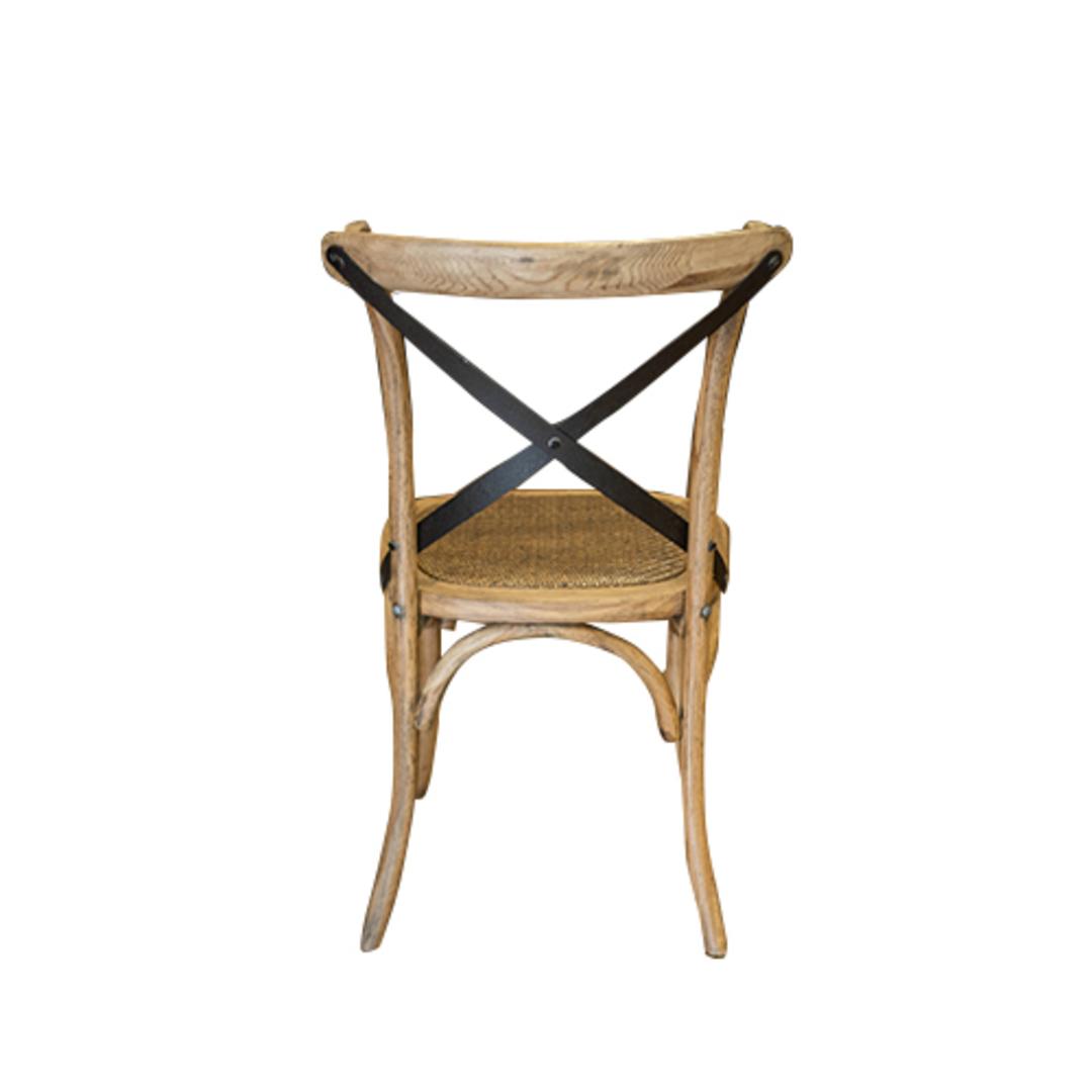 Oak Cross Back Chair Metal image 2