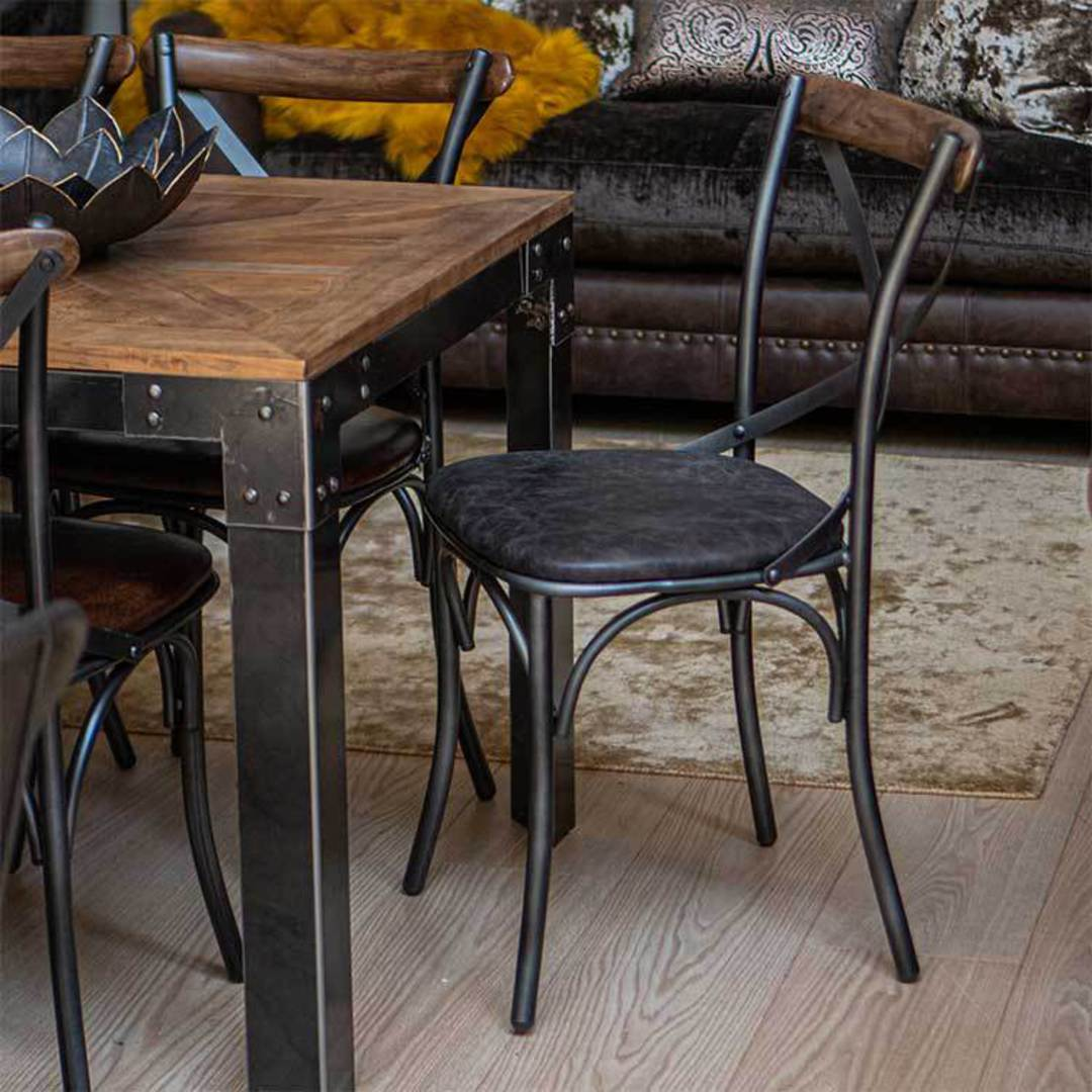 Cross Back Dining Chair With Black Leather Seat image 6