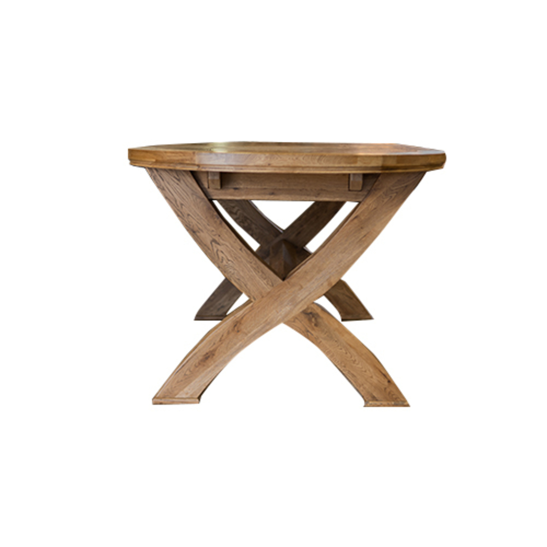 Oak Oval Extension Dining Table with Crossed legs image 4