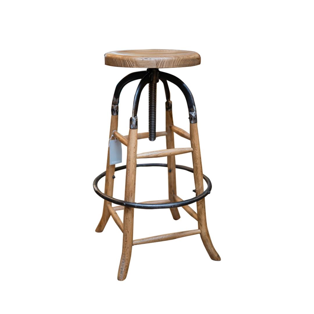 Oak Industrial Bar Stool image 0