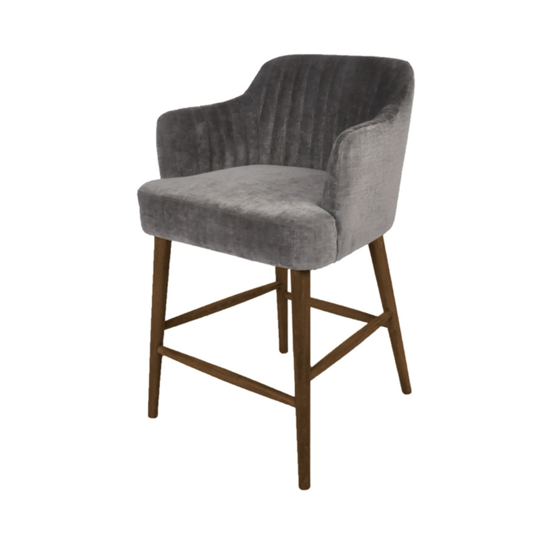 Meadow Barstool Grey Chenille with Oak legs image 0