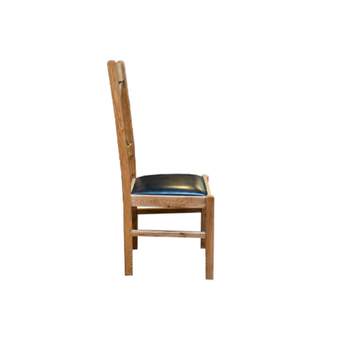 Chateau Oak Cross Back Leather Chairs - Dark Seat image 1