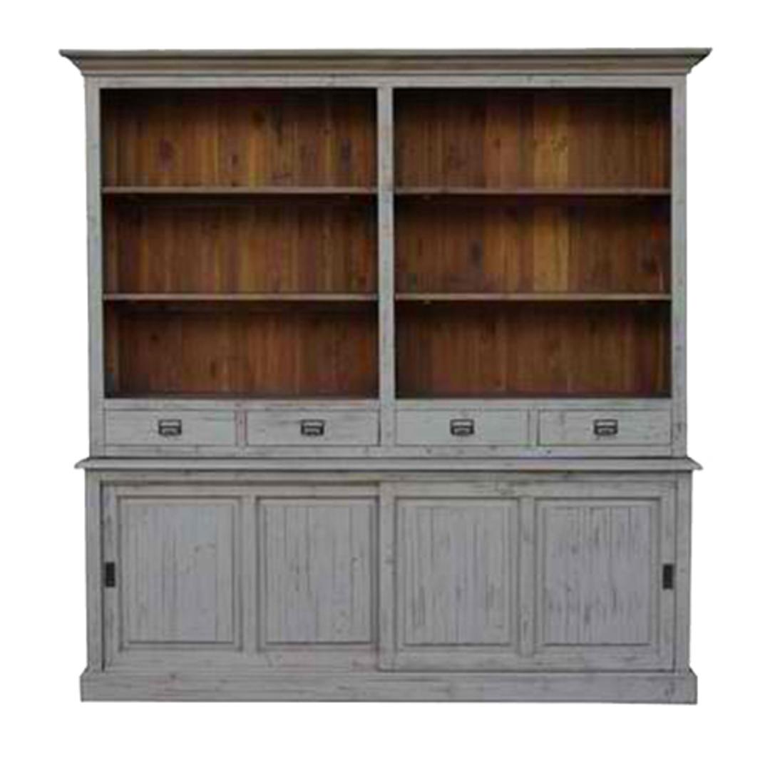 Old Pine 4 Drawer 2 Door Large Bookcase 215cm image 1