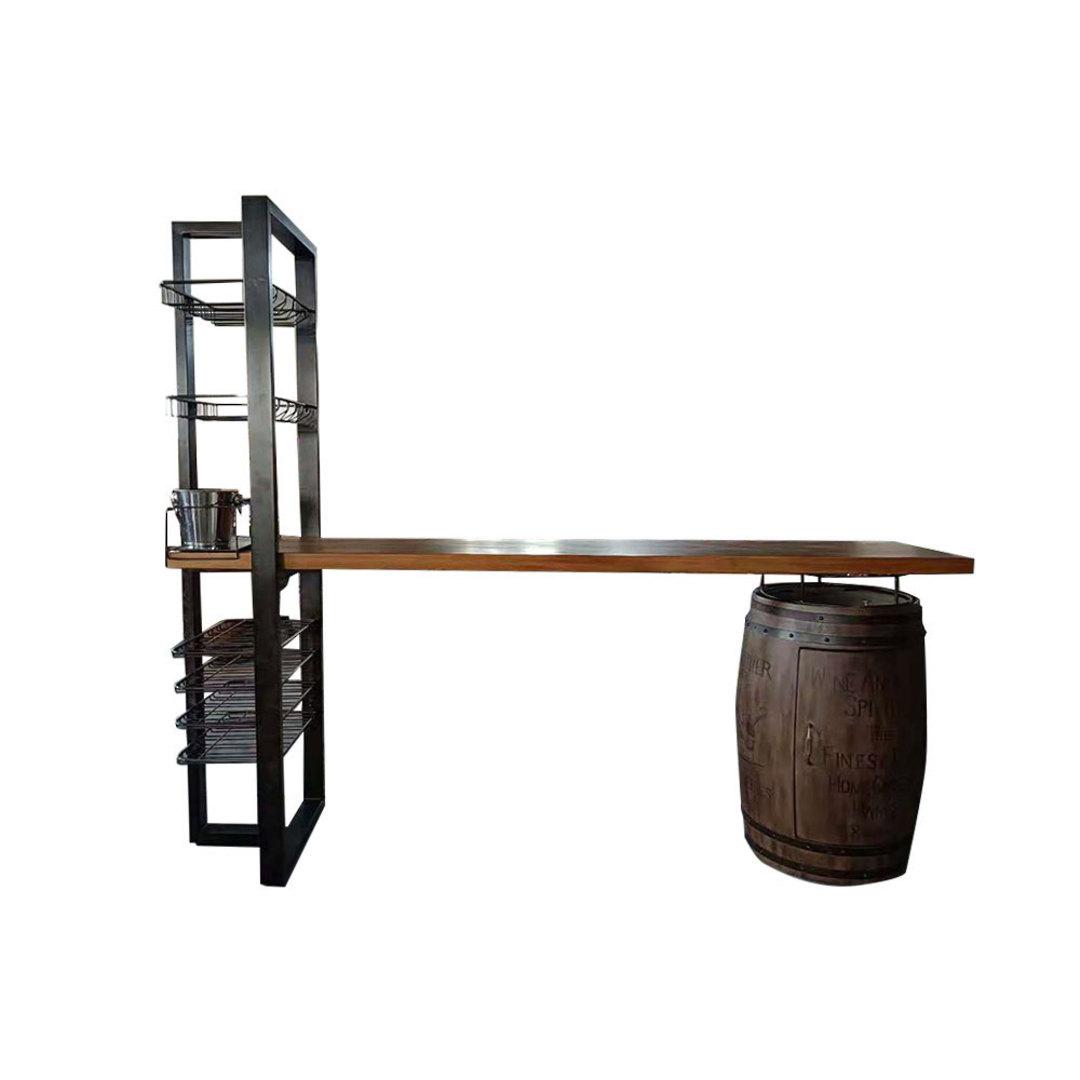 Vintage Industrial Barrel Bar with Shelving Oak with Iron Frame image 0