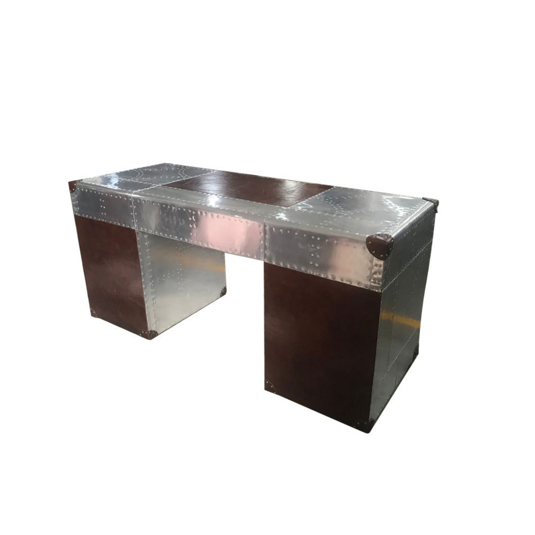 Aviator Aluminum Desk with Leather Drawer image 0