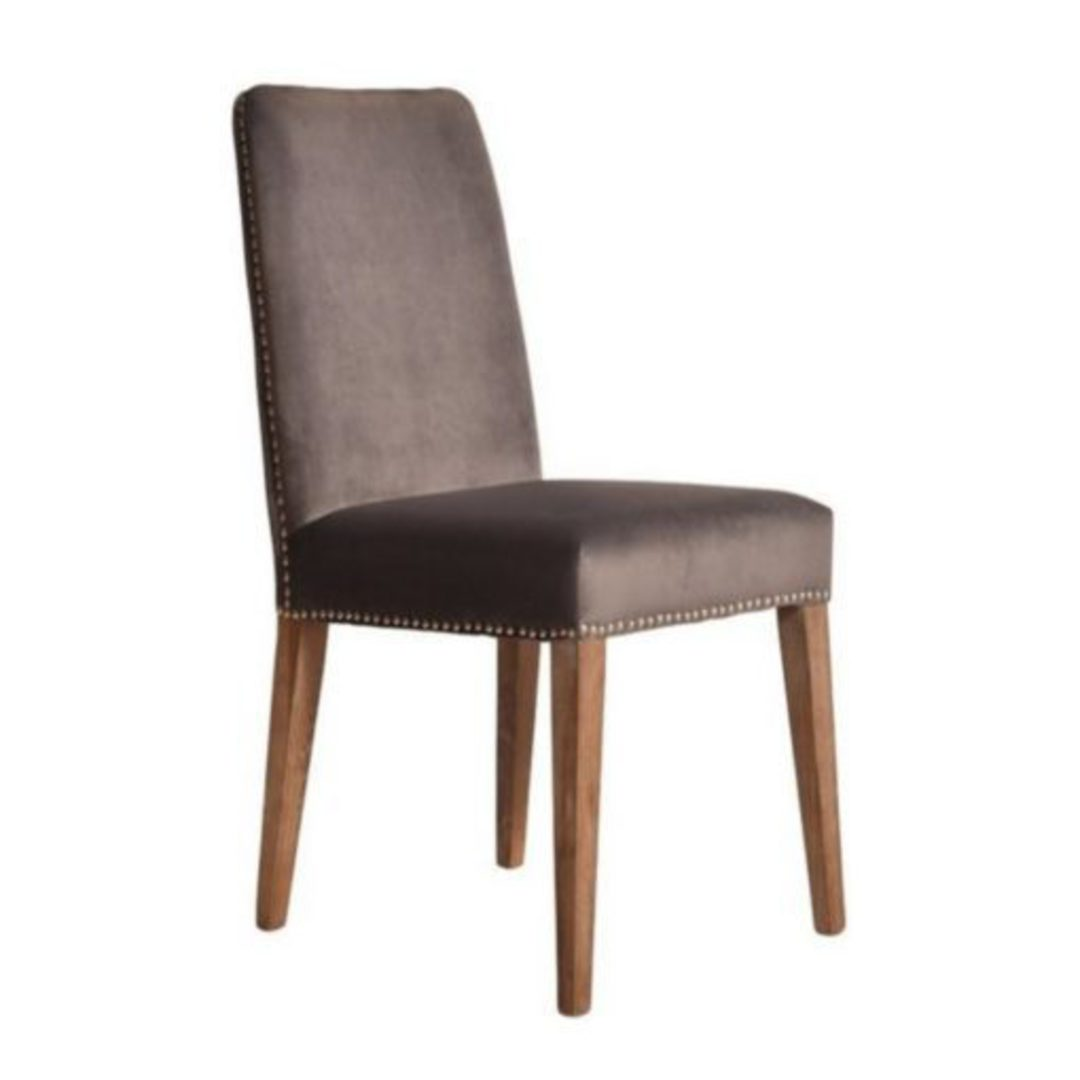 Pascal Dining Chair Grey Velvet With Antique Studs image 2