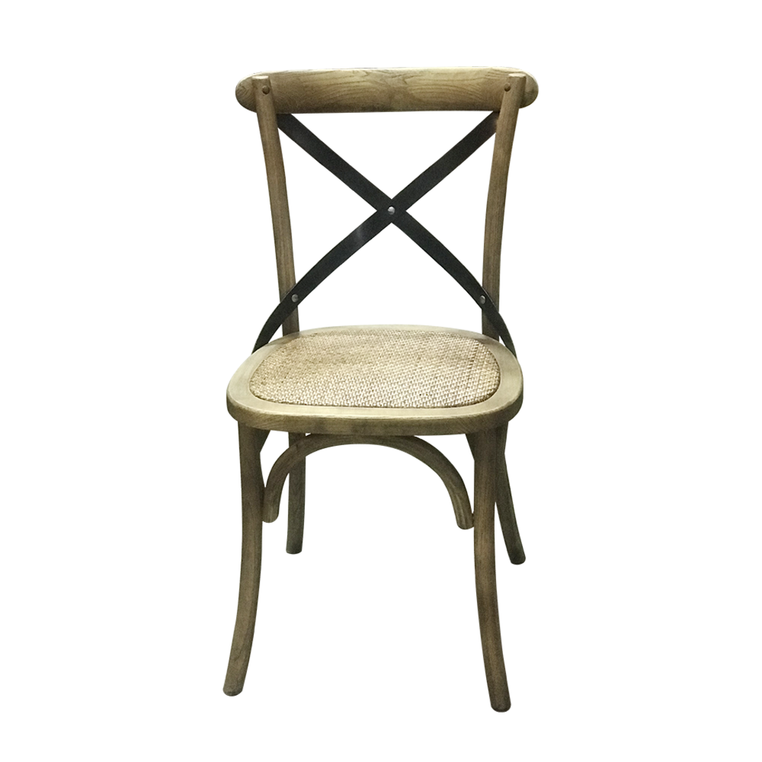Porto Metal Cross Back Chair Rattan Seat image 2