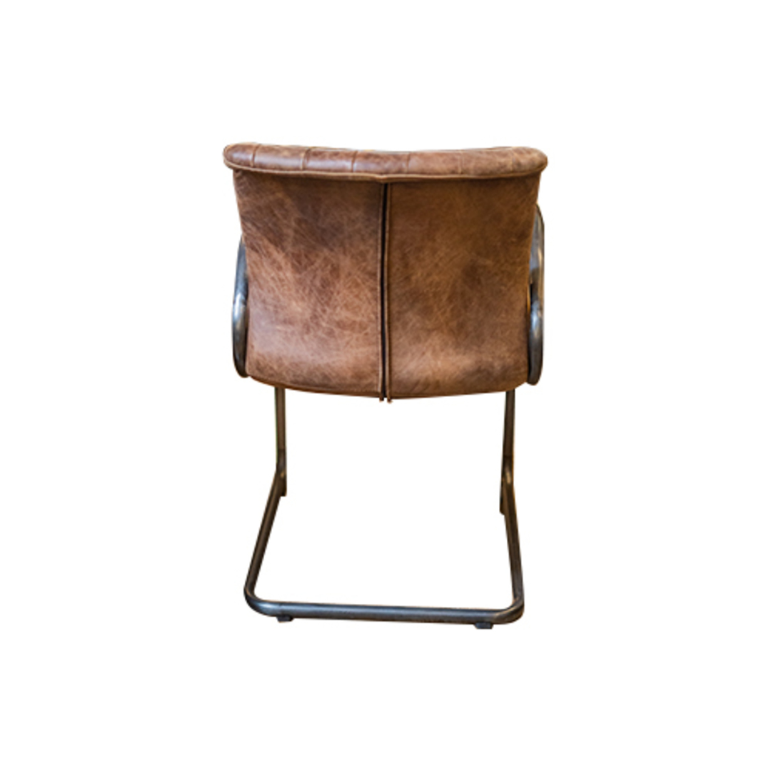 Matera Leather Arm Chair Metal Frame image 2