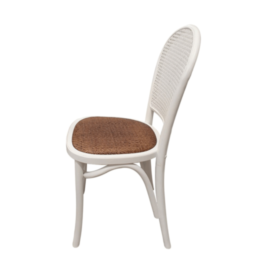 Meshach Rattan and Oak Dining Chair White image 2